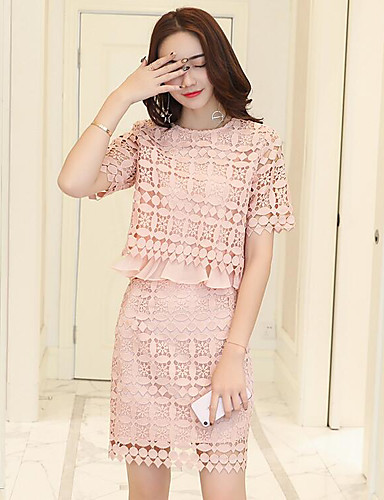 Women's Daily Contemporary Summer Blouse Dress Suits,Solid Crew Neck Short Sleeve Lace Micro-elastic