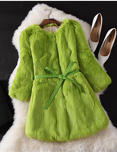 Women's Work Rabbit Fur Fur Coat - Solid Colored