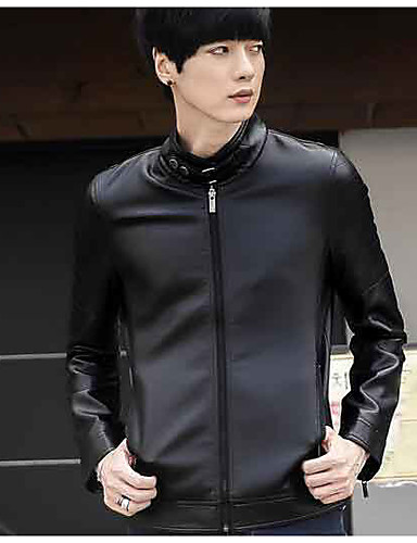 Men's Daily Casual Spring Fall Leather Jacket