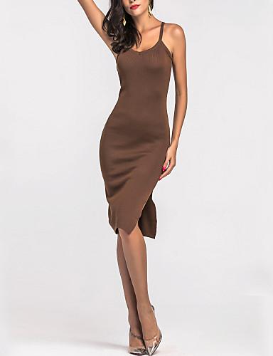 Mulheres Tubinho Bainha Vestido Sólido Com Alças Cintura Alta