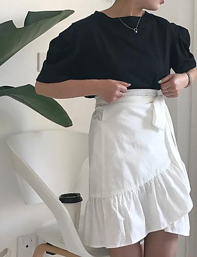 Klassisk Elegant Posebukser Kortermet,Rund hals T-skjorte Skjørt Drakter Ensfarget Med Tekstur Sexy Vår Sommer Fritid Søt MoteDaglig