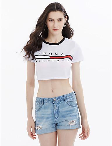 Naisten Puuvilla Yhtenäinen Kirjain Aktiivinen Bile T-paita