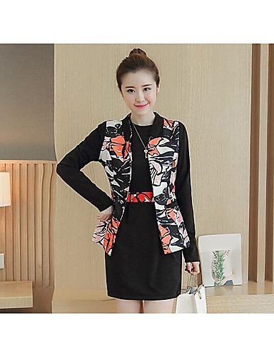 Women's Daily Casual Fall Blazer Dress Suits,Pattern Round Neck 3/4 Length Sleeve Cotton/nylon with a hint of stretch Micro-elastic