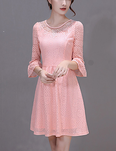 Women's Party Holiday Slim chic A Line Dress  Round Neck Mini Flare Sleeve Summer