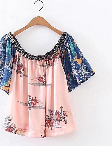 Naiset Lyhythihainen Venekaula-aukko Polyesteri Yksinkertainen Päivittäin Kausaliteetti T-paita,Kukka