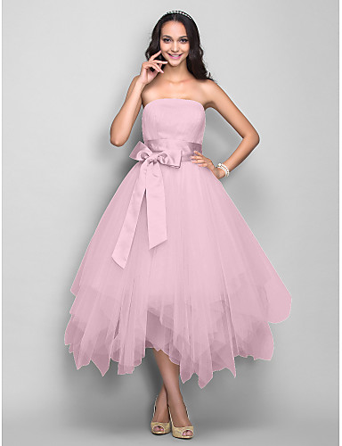 e8acc16a573 Ball Gown Strapless Tea Length Satin   Tulle Cocktail Party   Prom Dress  with Bow(s)   Sash   Ribbon by TS Couture®