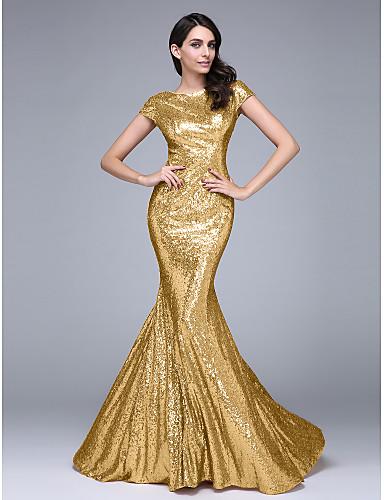 56688f754ed Τρομπέτα / Γοργόνα Χαμόγελο Ουρά μέτριου μήκους Με πούλιες Φανταχτερό /  Ανοικτή Πλάτη Επίσημο Βραδινό Φόρεμα με Πούλιες με TS Couture®