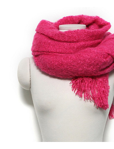 Women's Imitation Cashmere Rectangle Solid Winter All Seasons Blushing Pink Beige Fuchsia