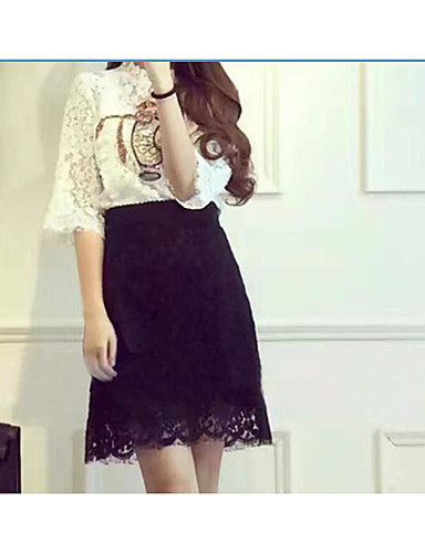 Women's Office / Career Daily Stage Skirts Pattern Casual Spring Summer T-shirt Skirt Suits,Solid Classic Round Neck Short Sleeve Lace