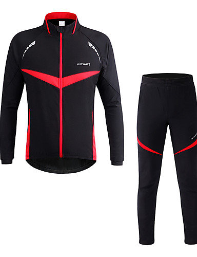 cheap Cycling Clothing-WOSAWE Men's Women's Long Sleeve Cycling Jacket with Pants - Red Bike Clothing Suit Windproof Reflective Strips Winter Sports Polyester Patchwork Mountain Bike MTB Road Bike Cycling Clothing Apparel