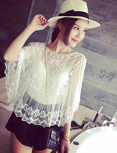 Mulheres Camiseta - Para Noite Casual Renda / Vazado / Com Transparência, Sólido / Bordado Algodão / Verão