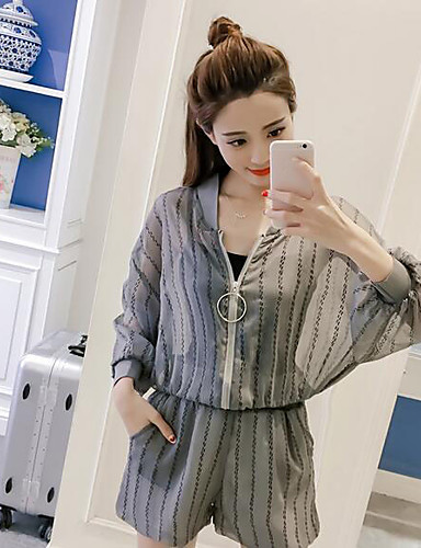 Women's Daily Casual Casual Summer T-shirt Pant Suits,Solid Striped Round Neck Long Sleeve Others Inelastic