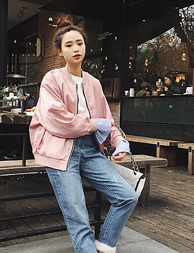 Women's Daily Modern/Contemporary Spring Jacket,Solid Stand Long Sleeve Short Others