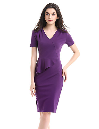 Women's Plus Size Work Cotton Bodycon Sheath Dress - Solid Colored Peplum Ruffle Vintage Style High Rise V Neck
