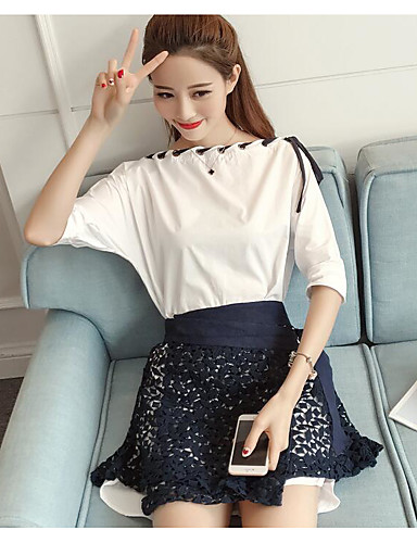Women's Daily Casual Casual Summer T-shirt Skirt Suits,Striped Color Block Round Neck 1/2 Length Sleeve Cotton Micro-elastic