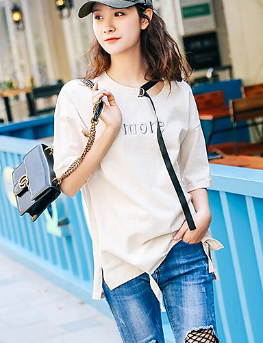 Women's Going out Street chic Summer T-shirt,Letter Round Neck Short Sleeve Cotton