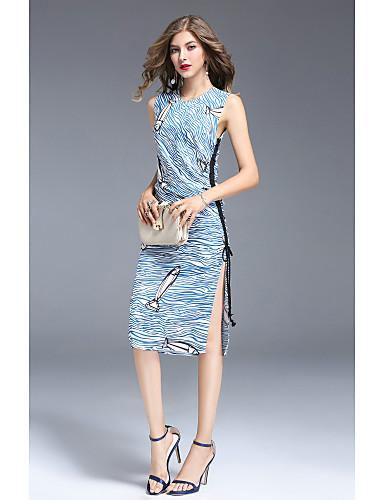 Women's Cute Casual Sheath Dress - Solid Colored Lace Split