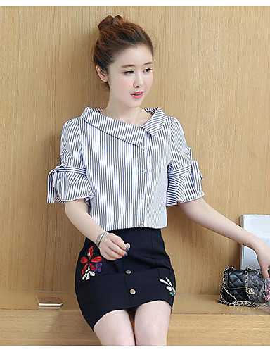 Women's Daily Casual Summer Shirt Skirt Suits,Solid Striped Floral Peter Pan Collar Short Sleeve 100% Cotton