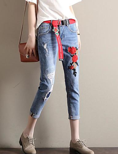 Women's Casual Harem / Slim / Jeans Pants - Floral High Waist / Summer