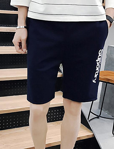 Men's Mid Rise Micro-elastic Shorts Pants,Simple Straight Solid Quotes & Sayings