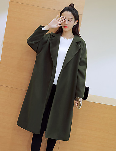 Women's Daily Simple Casual Fall Coat,Solid Notch Lapel Long Sleeve Maxi Cotton Oversized