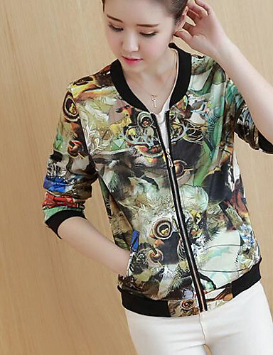 Women's Daily Modern/Contemporary Fall/Autumn Jacket,Floral Print Stand Long Sleeve Short Others
