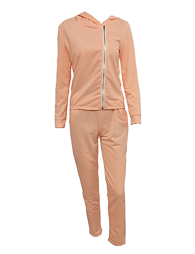 Women's Daily Sports Holiday Casual Street chic Spring Fall Hoodie Pant Suits,Solid Hooded Long Sleeve Polyester