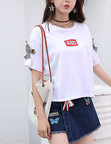 Women's Daily Casual Casual Summer T-shirt Skirt Suits,Solid Color Block Quotes & Sayings Round Neck Short Sleeve Micro-elastic