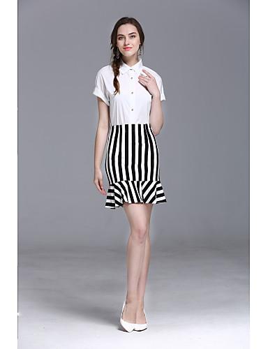 Mulheres Saia Fashion Listras Camisa Social Sólido Listrado Saia Colarinho de Camisa