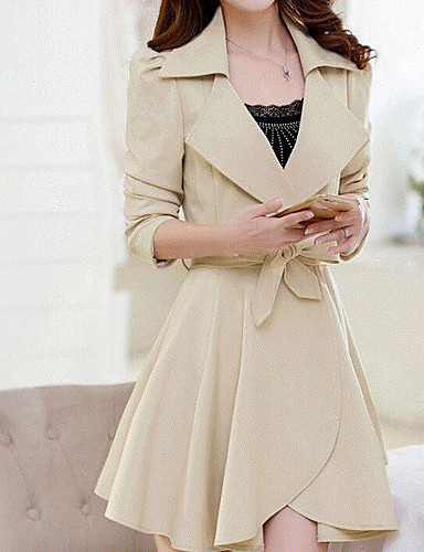 Women's Daily Ruffled Spring/Fall Coat,Solid Peter Pan Collar Half Sleeve Regular Cotton