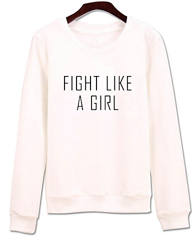 Women's Going out Cotton Sweatshirt - Solid Colored, Print