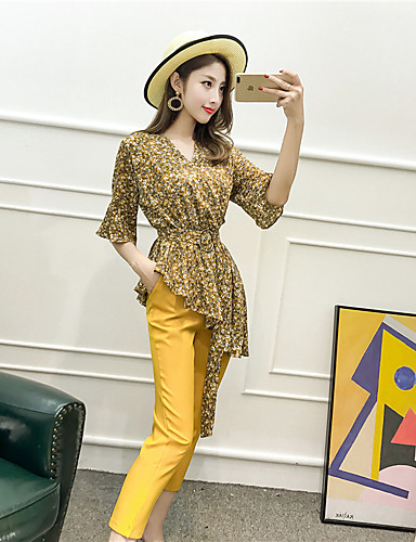 Women's Going out Street chic Faux Fur T-shirt - Solid Colored Floral Leopard Print, Backless Pant