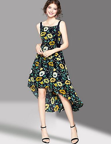 Women's Going out Cute Swing Dress,Print Strap Midi Sleeveless Polyester Summer Mid Rise Micro-elastic Medium