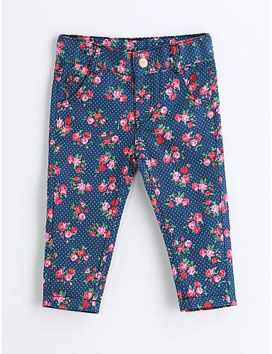 Para Meninas Calças Floral Primavera Outono Algodão Azul