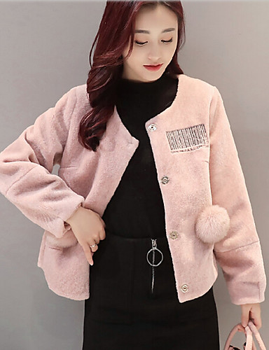 Women's Daily Casual Fall Winter Coat,Solid Round Neck Long Sleeve Short Polyester
