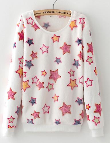 Women's Daily Print Round Neck Sweatshirt Regular, Long Sleeves Winter