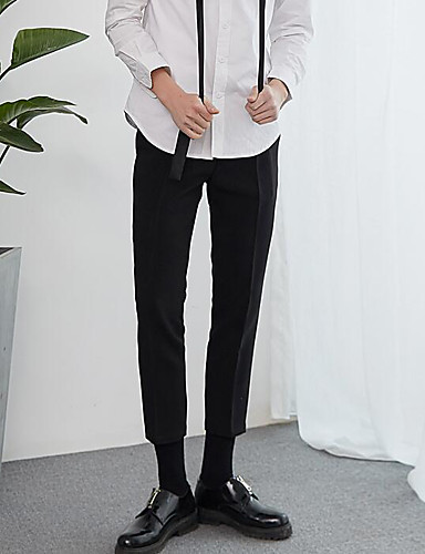 Men's High Rise Micro-elastic Business Pants,Simple Skinny Solid