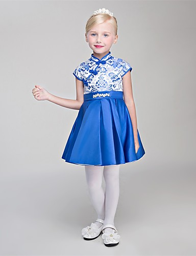 Princess Short / Mini Flower Girl Dress - Satin Chiffon Sleeveless High Neck with Lace by Embroidered Bridal