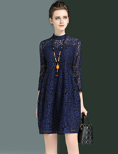 Women's Going out Plus Size Sexy Street chic Loose Lace Dress,Embroidered Round Neck Above Knee 3/4 Length Sleeves Cotton Polyester Nylon