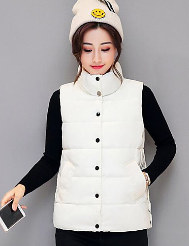 Women's Short Padded Coat,Simple Casual/Daily Solid-Polyester Polypropylene Sleeveless