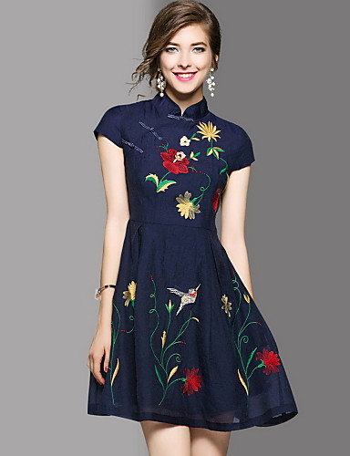 Women's Going out Cute A Line Dress,Embroidered Stand Above Knee Short Sleeves Cotton Summer Mid Rise Micro-elastic Medium