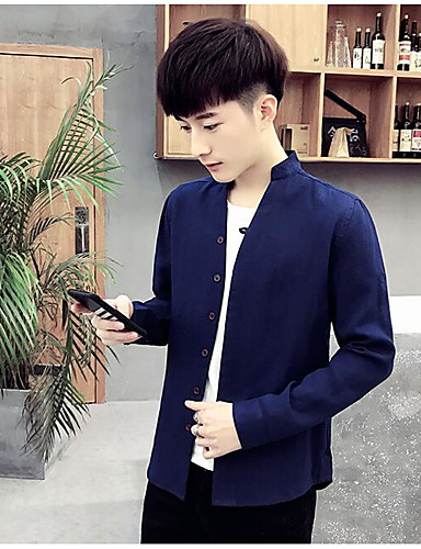 Men's Chinoiserie Cotton Linen Shirt - Solid Colored