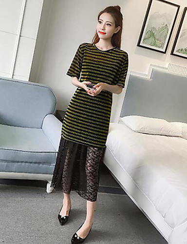 Women's Daily Vintage Boho Summer T-shirt Skirt Suits,Striped Round Neck Short Sleeve Polyester