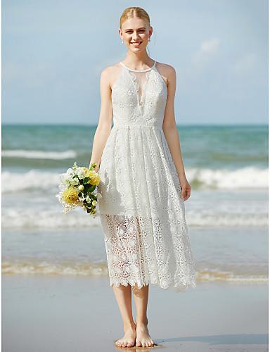 Linha A Decorado com Bijuteria Longuette Renda Vestidos de noiva personalizados com Renda de LAN TING BRIDE®