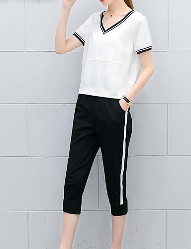 Women's Daily Casual Casual Active Summer T-shirt Pant Suits,Solid Striped Color Block Round Neck Short Sleeve Cotton Micro-elastic