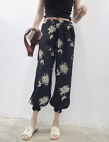 Women's High Rise Inelastic Loose Wide Leg Pants,Street chic Floral Polyester Spring Summer Fall