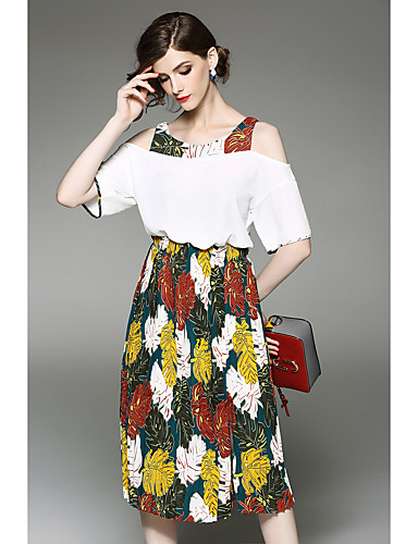 Women's Holiday Going out Boho Summer T-shirt Skirt Suits,Solid Print Round Neck Short Sleeve Patchwork Inelastic