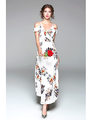 Women's Daily Going out Cute Sexy Chiffon Swing Maxi Dress, Floral Split V Neck Short Sleeves Spring Summer High Rise