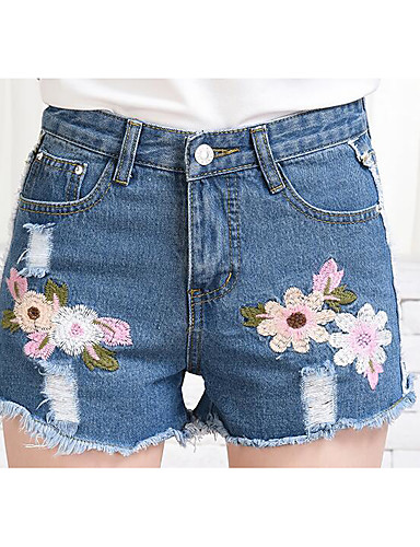 Women's Mid Rise Inelastic Shorts Pants,Cute Slim Embroidery