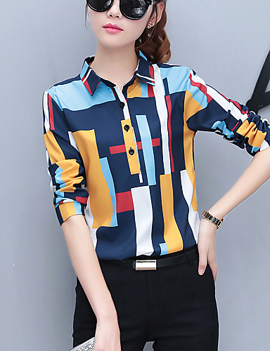 Women's Work Street chic Spring Fall Shirt, Rainbow Shirt Collar Long Sleeves Polyester